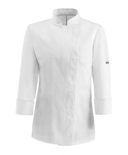 Női szakács kabát - fehér, hosszú ujjú, patentos