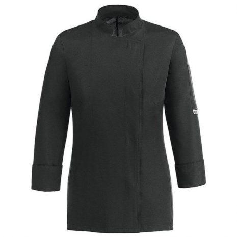 Női szakács kabát - fekete, hosszú ujjú, patentos