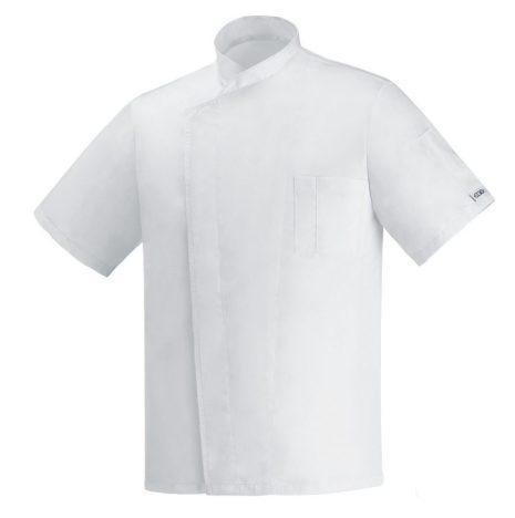 Szakácskabát - fehér, rejtett patentos, rövid ujjú