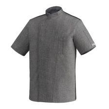 Szakácskabát - melírozott szürke, patentos, hálós hátú, rövid ujjú