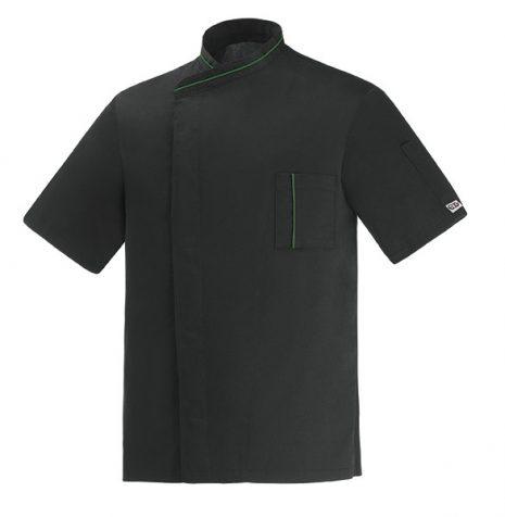 Szakácskabát - fekete, patentos, microtec, hálós hátú