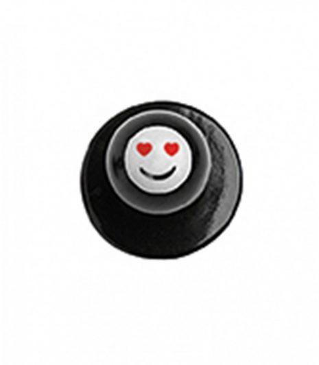 Szakácskabát gomb - szívecskés szemű smiley mintával