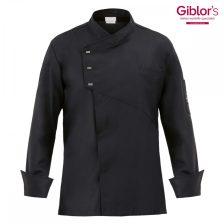 Giblor's  szakácskabát - fekete, hosszú ujjú, díszpatentos