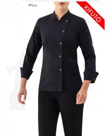 Női szakács kabát fekete, hosszú ujjú, patentos Szakács