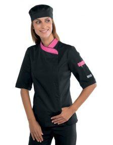 Női szakácskabát - fekete-pink, rövid ujjú