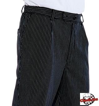 Chef nadrág - fekete alapon vékony fehér csíkokkal