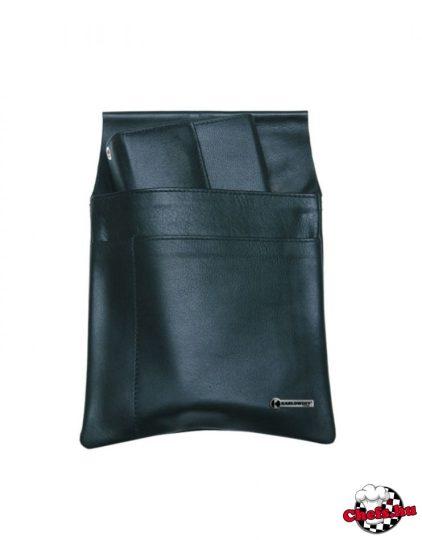 Felszolgáló oldaltáska - brifkótartó, fekete, bőr, 3 zsebes