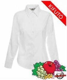 Női hosszú ujjú blúz - Fruit of The Loom, puplin, fehér