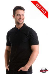 Fekete, galléros póló, 180 g/m2