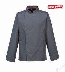 MashAir Pro, palaszürke, hosszú ujjú szakács kabát
