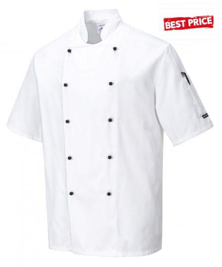Szakács kabát fehér rövid ujjú cukrász kabát