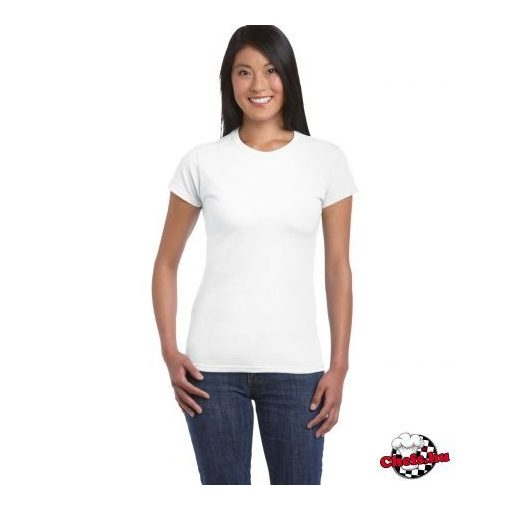 Póló, kiállítás, nő, fehér, lejtő. | CanStock