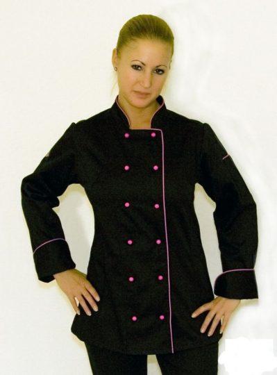 Női szakácskabát - fekete, hosszú ujjú, pink paszpól díszítéssel