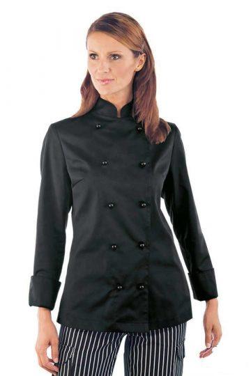 Női fekete, hosszú ujjú szakácskabát