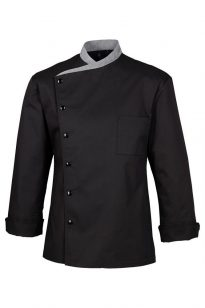 Szakácskabát - fekete, patentos, 100% pamut